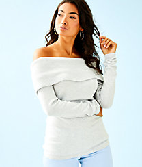 Christin Off The Shoulder Sweater, Heathered Sea Pebble Grey, large