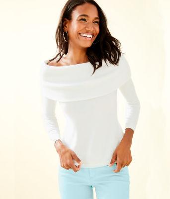 Christin Off The Shoulder Sweater, Resort White, large 0