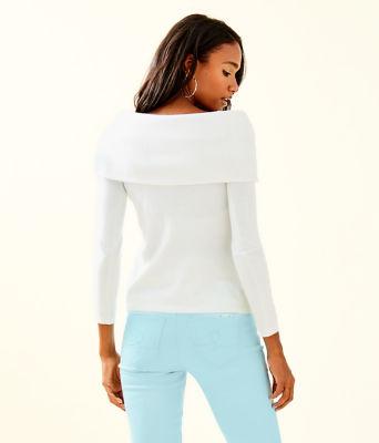 Christin Off The Shoulder Sweater, Resort White, large 1