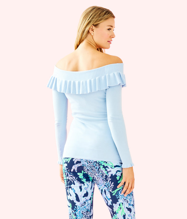 Siesta Off The Shoulder Sweater, Crew Blue, large