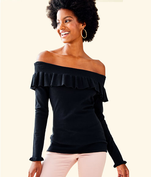 Siesta Off The Shoulder Sweater, Onyx, large