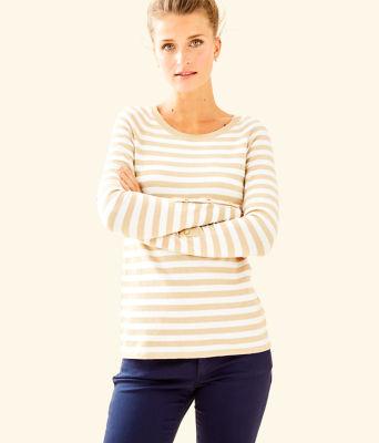 Dinah Crewneck Sweater, Coconut Two Color Positano Stripe, large 0