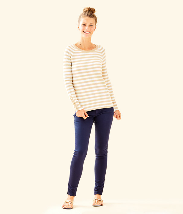 Dinah Crewneck Sweater, Coconut Two Color Positano Stripe, large