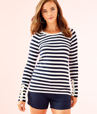 Dinah Crewneck Sweater, True Navy Two Color Positano Stripe, large