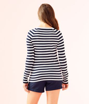 Dinah Crewneck Sweater, True Navy Two Color Positano Stripe, large 1