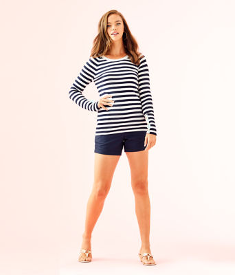 Dinah Crewneck Sweater, True Navy Two Color Positano Stripe, large 2
