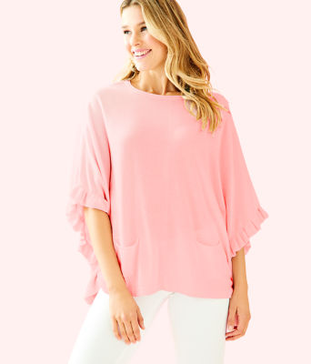 Lune Ruffle Sweater, Heathered Paradise Pink, large 0