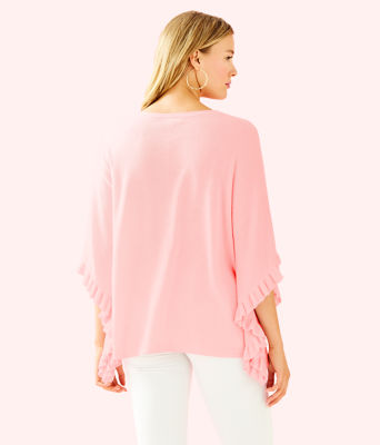 Lune Ruffle Sweater, Heathered Paradise Pink, large 1