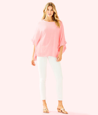 Lune Ruffle Sweater, Heathered Paradise Pink, large 2