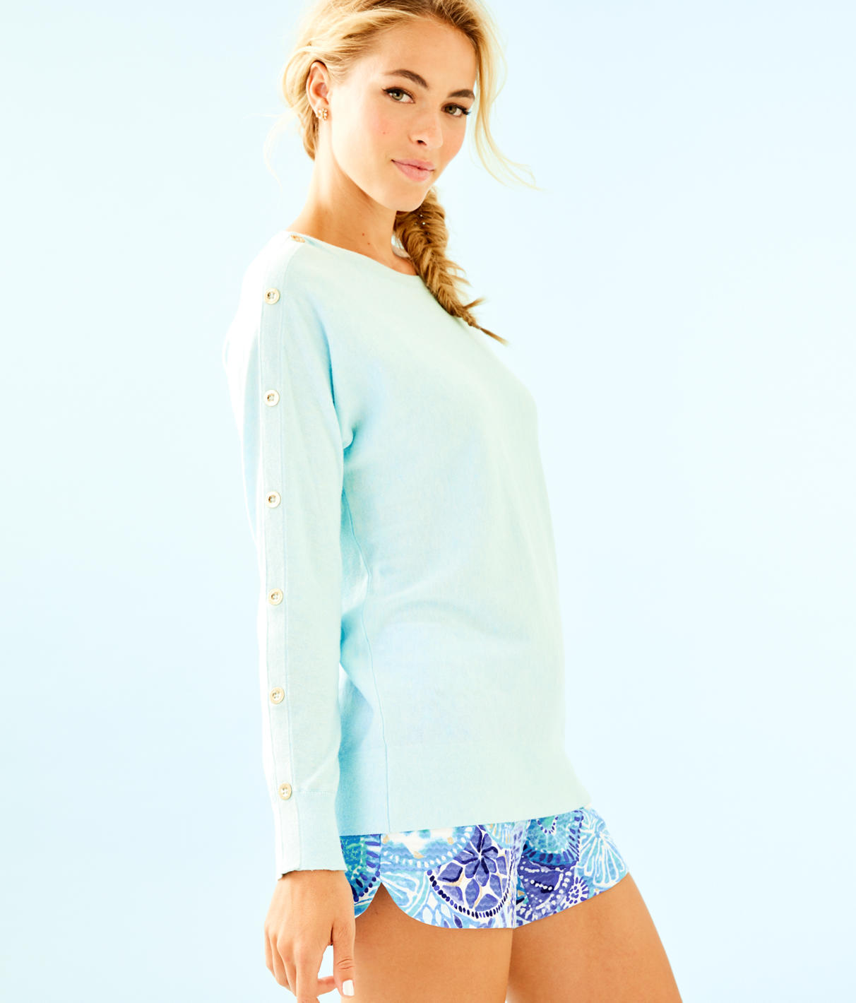 Milton Boatneck Sweater in Heathered Whisper Blue