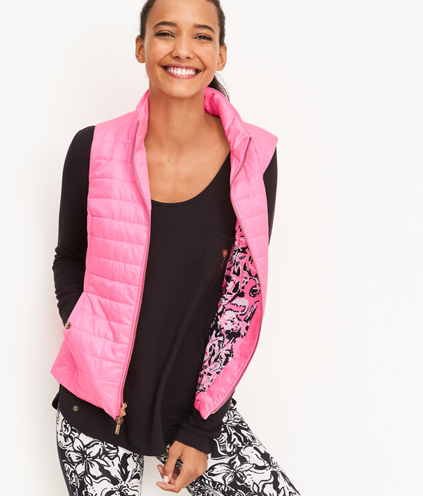 Elyn Puffer Vest, Hibiscus Pink, large