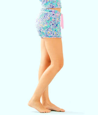 "4"" Ruffle Pj Knit Short, Melon Fig Tint Monkey Sea, large 2"