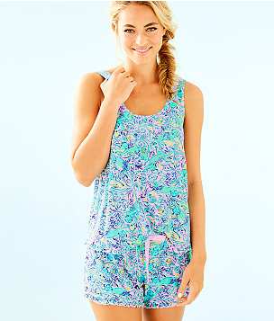 Ruffle PJ Tank, Melon Fig Tint Monkey Sea, large