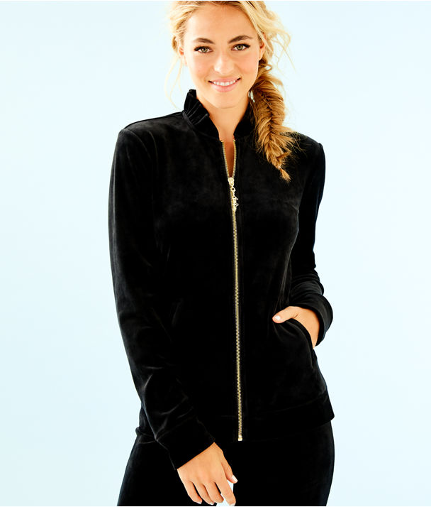 Jayla Velour Ruffle Zip Up Jacket, Onyx, large