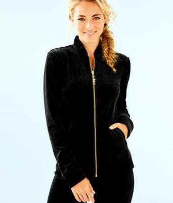 Jayla Velour Ruffle Zip Up Jacket, Onyx, large