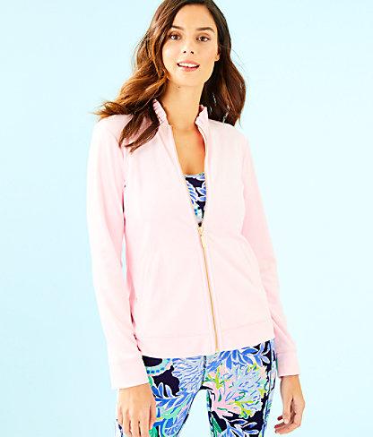 Jayla Velour Ruffle Zip Up Jacket, Pink Tropics Tint, large 0
