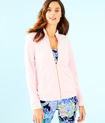 Jayla Velour Ruffle Zip Up Jacket, Pink Tropics Tint, large
