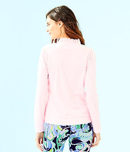 Jayla Velour Ruffle Zip Up Jacket, Pink Tropics Tint, large 1