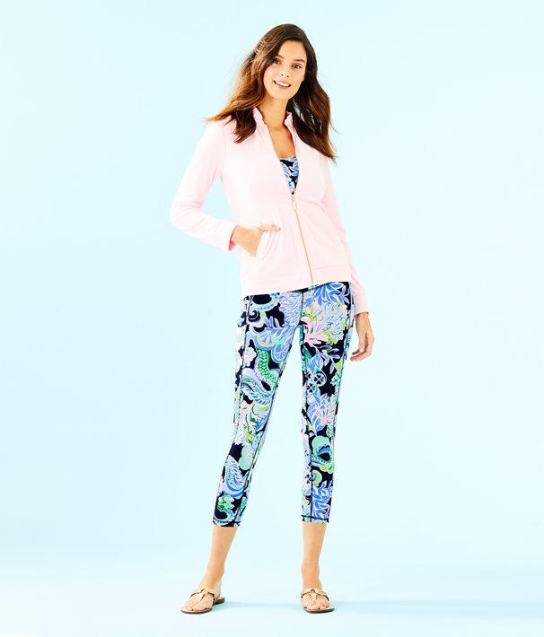 Jayla Velour Ruffle Zip Up Jacket, Pink Tropics Tint, large