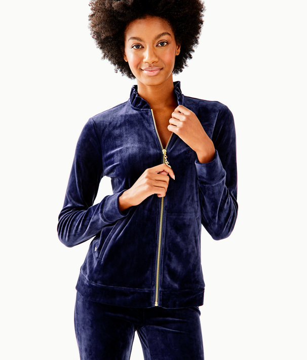 Jayla Velour Ruffle Zip Up Jacket, True Navy, large