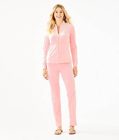 """33"""" Jordynne Velour Pant, Pink Tropics Tint, large 3"""