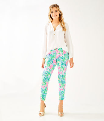 "29"" Kelly Skinny Ankle Pant With Petal Hem, Multi Bohemian Queen Small, large"