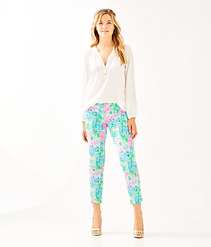 "29"" Kelly Skinny Ankle Pant With Petal Hem, Multi Bohemian Queen Small, large 2"
