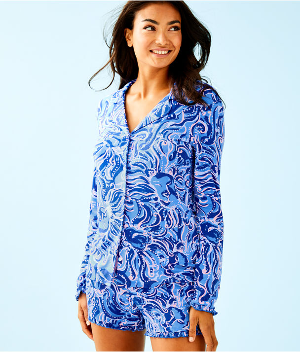 Ruffle PJ Button Front Top, Coastal Blue Whispurr, large