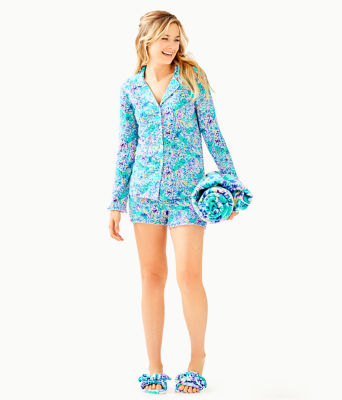 Ruffle PJ Button Front Top, Melon Fig Tint Monkey Sea, large 2