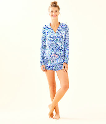Ruffle PJ Button Front Top, Royal Purple 60 Animals, large
