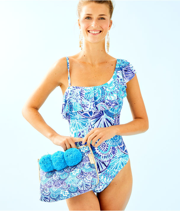 Tropez One Piece Swimsuit, Turquoise Oasis Half Shell, large