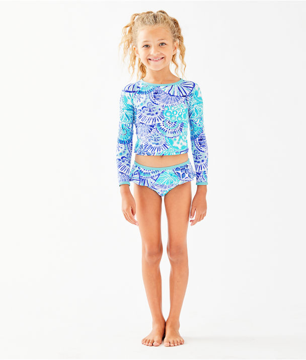 UPF 50+ Girls Cora Rashguard Swim Set, Turquoise Oasis Half Shell, large