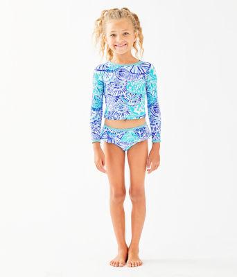 UPF 50+ Girls Cora Rashguard Swim Set, Turquoise Oasis Half Shell, large