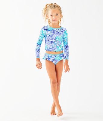 UPF 50+ Girls Cora Rashguard Swim Set, Turquoise Oasis Half Shell, large 2