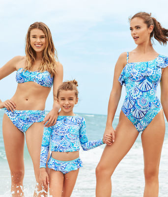 UPF 50+ Girls Cora Rashguard Swim Set, Turquoise Oasis Half Shell, large 3