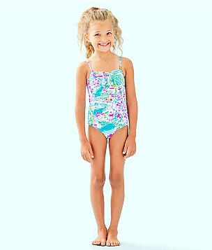 UPF 50+ Girls Mini Plumeria One Piece Swimsuit, Multi Postcards From Positano, large