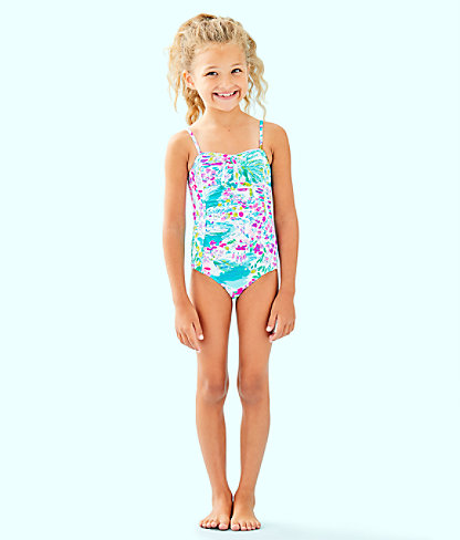 UPF 50+ Girls Mini Plumeria One Piece Swimsuit, , large