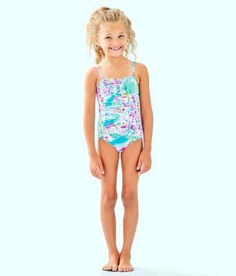 UPF 50+ Girls Mini Plumeria One-Piece Swimsuit, Multi Postcards From Positano, large 0
