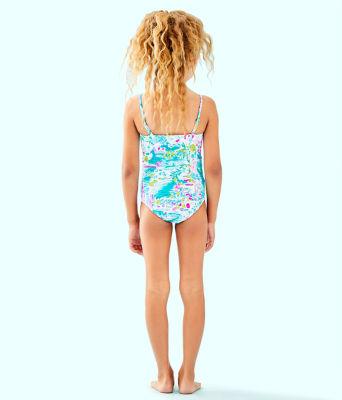 UPF 50+ Girls Mini Plumeria One-Piece Swimsuit, Multi Postcards From Positano, large