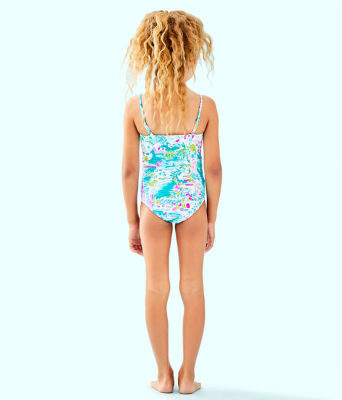 UPF 50+ Girls Mini Plumeria One-Piece Swimsuit, Multi Postcards From Positano, large 1