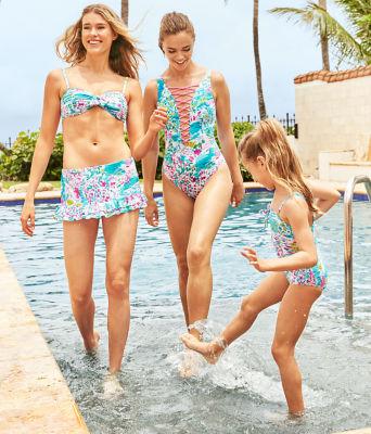 UPF 50+ Girls Mini Plumeria One-Piece Swimsuit, Multi Postcards From Positano, large 2