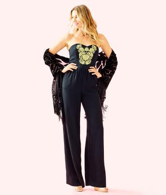 Janelle Embellished Jumpsuit, Onyx, large