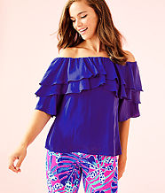 Haylee Off The Shoulder Top, Royal Purple, large
