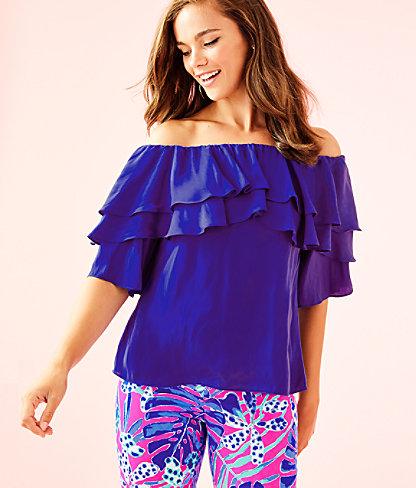 Haylee Off The Shoulder Top, Royal Purple, large