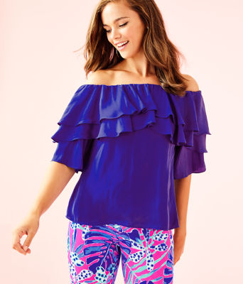 Haylee Off The Shoulder Top, Royal Purple, large 0