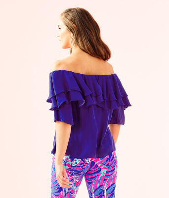 Haylee Off The Shoulder Top, Royal Purple, large 1