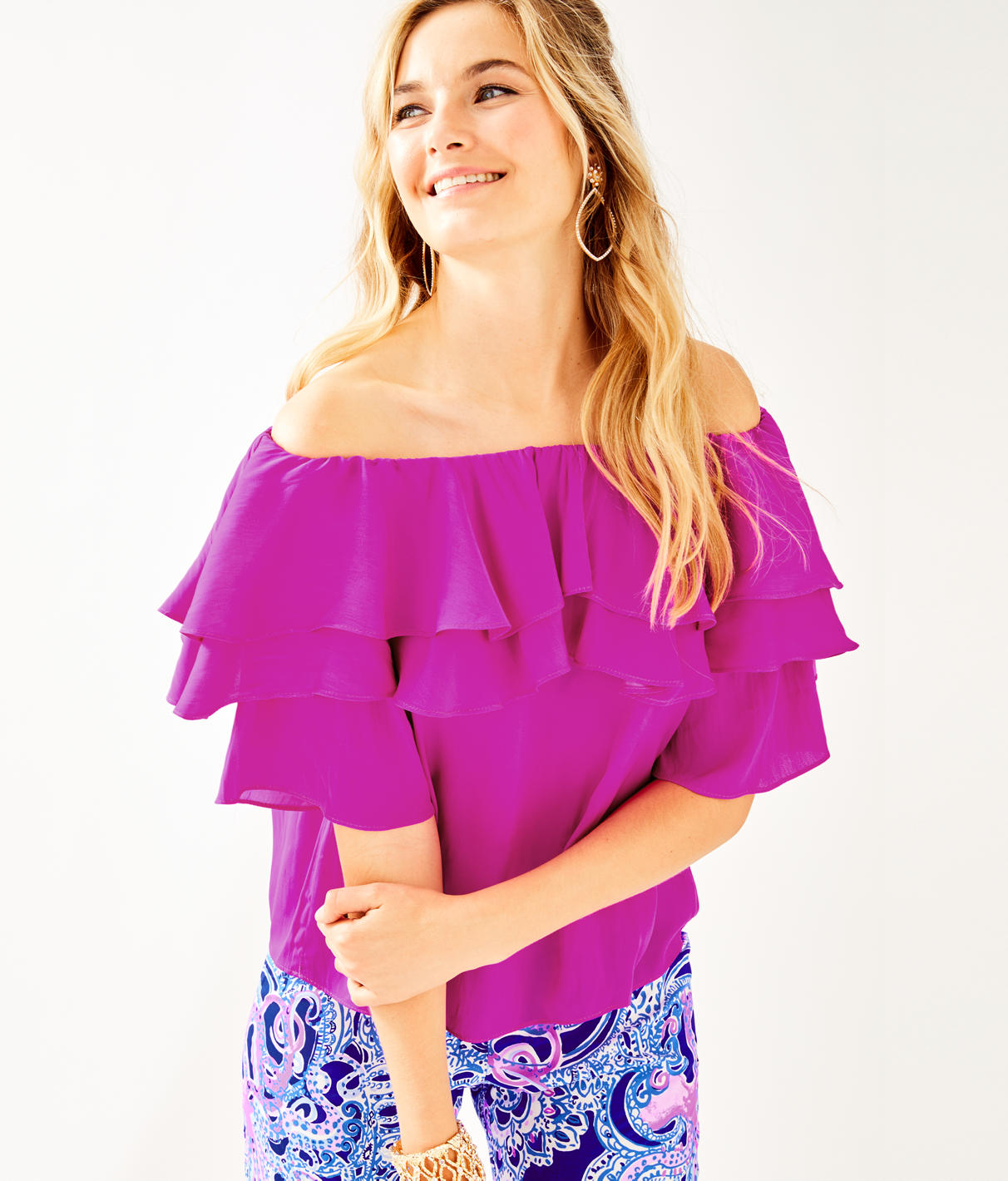 Haylee Off-The-Shoulder Blouse in Wine Spritzer from Lilly Pulitzer