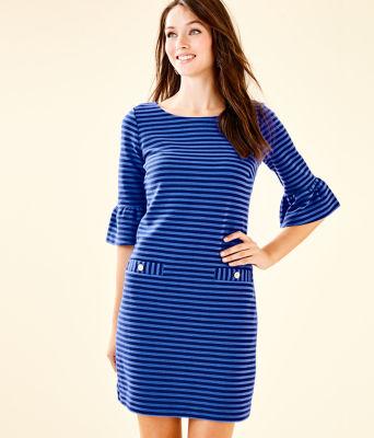 Alden Striped Dress, Blue Grotto Ottoman Stripe, large 0