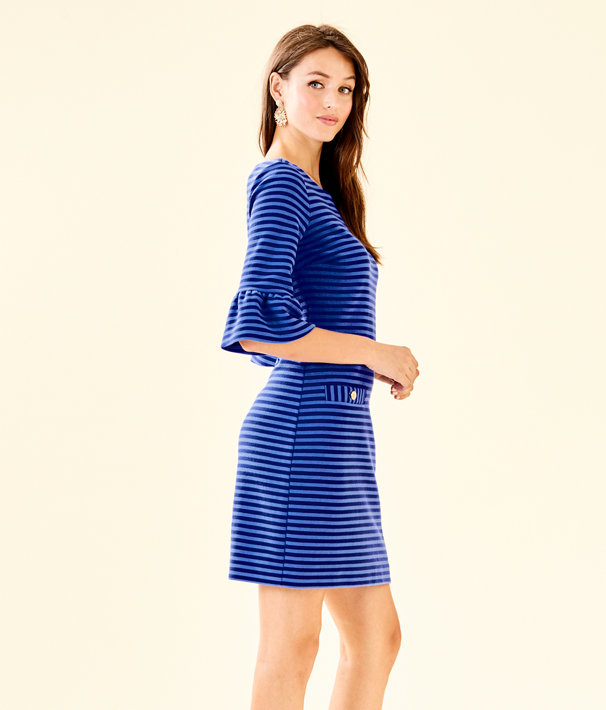 Alden Striped Dress, Blue Grotto Ottoman Stripe, large