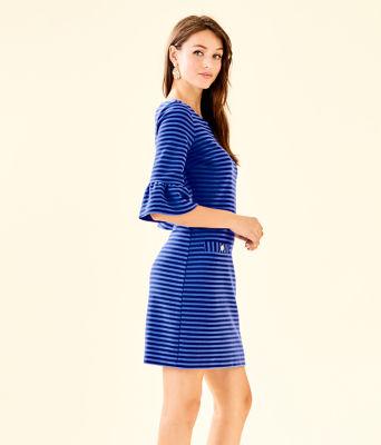 Alden Striped Dress, Blue Grotto Ottoman Stripe, large 2